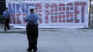 Poster en el memorial del 9/11 en Nueva York