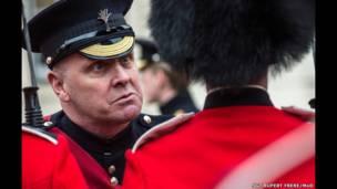 An unimpressed Former Garrison Sgt Maj inspects Nijmegen Company Grenadier Guards
