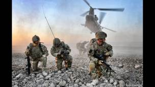 Soldiers fighting to re-establish government control in Helmand, Afghanistan