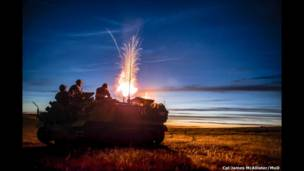 Mortar at Night by Cpl James McAllister