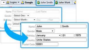Roboform permite rellenar los datos automáticamente simplemente presionando un botón.