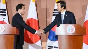 Ministros de Relaciones Exteriores de Corea del Sur y Japón