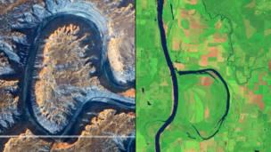 Грин-Ривер в штате Юта и заказник Holla Bend. NASA
