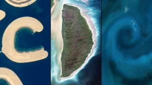 Остров Бахрейн, остров Акимиски и цветение фитоланктона у берегов Новой Зеландии. NASA