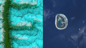 Заснеженные хребты в юго-восточном Тибете и остров Пинаки во Французской Полинезии. NASA