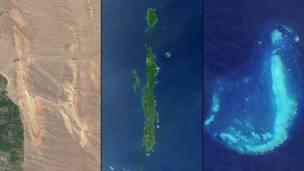 Хребты на юго-западе Киргизии и Большой Барьерный риф близ Таунсвилла в Австралии. NASA