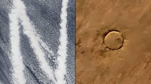 Кильватерный след судов идущих через Тихий океан и метеоритный кратер Тенумер в Мавритании. NASA