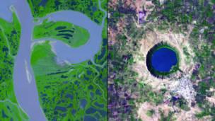 Дельта реки Маккензи в Канаде и кратерное озеро Лонар в Индии. NASA