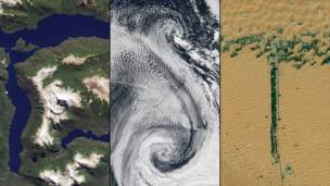 Лаго Менендес в Аргентине, облака над Атлантическим океаном, застройки по обеим сторонам дороги в Объединенных Арабских Эмиратах. NASA