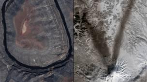 Национальный парк Gooseneck в штате Юта, вулкан Шивелуч на Камчатке в России. NASA