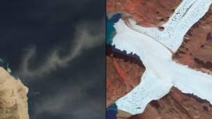 Пыль над Красным морем, ледник Leidy в Гренландии. NASA
