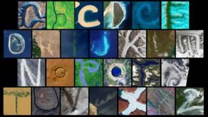 Снимки Земли из космоса, собранные в английский алфавит
