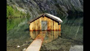 Boathouse on the Obersee in Bavaria, Germany. Jenn and Willie Witte