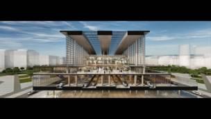 проект железнодорожного вокзала в Астане (Казахстан)  фирмы Tabaniliogu Architects.
