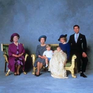 Queen Mother, Queen Elizabeth II, Prince William, Prince Harry and the Prince and Princess of Wales after the christening ceremony of Prince Harry. The Queen has eight grandchildren and five great-grandchildren.