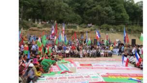 राजधानीको बालाजुमा आयोजित विरोधसभामा गठबन्धनका नेता तथा कार्यकर्ता।