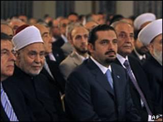 فواد سینیوره (چپ)، سعد حریر (وسط) نبیه بری (راست)