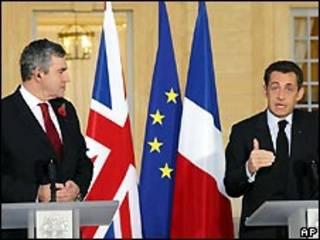 سارکوزی و براون در پاریس