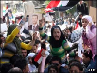 تظاهرات ضد آمریکایی در دمشق