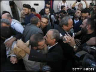 زندانیان فتح پس از آزادی از بازداشت حماس