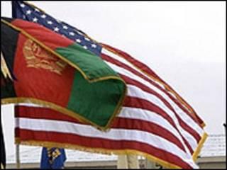 پرچم آمریکا و افغانستان