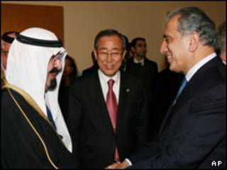 ملک عبدالله، بان کی مون و زلمی خلیلزاد
