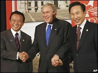 جورج بوش و رهبران ژاپن و کره جنوبی