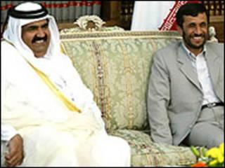 محمود احمدی نژاد و شیخ حمد بن خلیفه آل ثانی