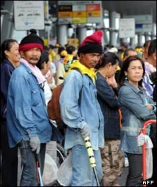 معترضین در فرودگاه سووارنابومی بانکوک