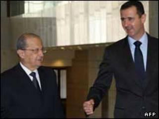 میشل عون و بشار اسد در دمشق