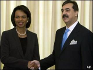 رایس و گیلانی نخست وزیر پاکستان
