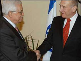 دیدار محمود عباس و اولمرت