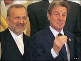 برنار کوشنر و متکی وزیران خارجه فرانسه و ایران