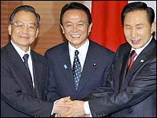 رهبران چین، ژاپن و کره جنوبی