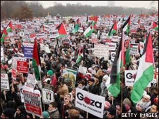 تظاهرات لندن برای آتش بس غزه