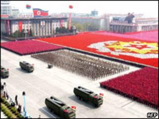 Desfile militar em Pyongyang (arquivo)