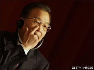 O premiê Wen Jiabao durante discurso na Univesidade de Cambridge (Getty Images)