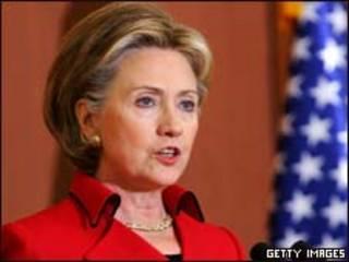 A secretária de Estado americana, Hillary Clinton, durante discurso em Seul  (Getty Images)