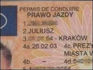 Carteira de motorista da Polônia (arquivo)