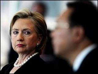 A secretária de Estado americana, Hillary Clinton, durante encontro com chanceler chinês, Yang Jiechi  (Getty Images)