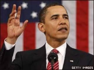O presidente dos Estados Unidos, Barack Obama, durante seu discurso no Congresso, nesta terça-feira (Getty Images)