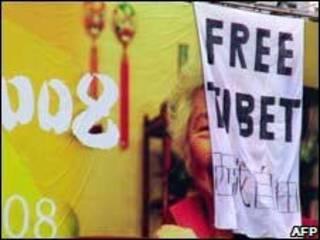 Protesto pró-Tibete na China no ano passado