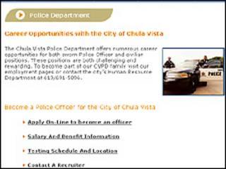 Anúncio do Departamento de Polícia de Chula Vista
