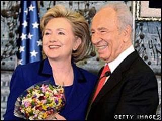 Hillary Clinton e Shimon Peres
