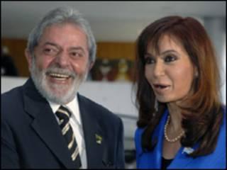 O presidente Lula e a presidente da Argentina, Cristina Kirchner, em setembro de 2008 (Arquivo/ Roosewelt Pinheiro/ABr)