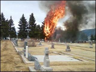 Quang cảnh nơi xảy ra tai nạn máy bay ở Butte, Montana
