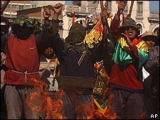 Manifestantes bolivianos