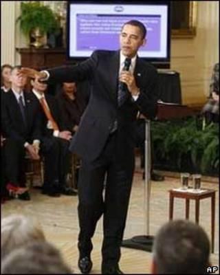 O presidente dos Estados Unidos, Barack Obama, durante a coletiva pela internet