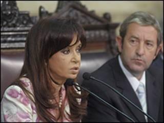 Cristina Fernández y el vicepresidente Julio Cobos el pasado 1 de marzo