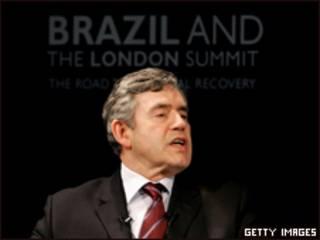 O primeiro-ministro britânico, Gordon Brown, em visita ao Brasil